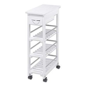 real,- QUALITY Nischenregal | weiß | mit Schublade | 3 Regalböden | Holz | Bambus | Kunststoffräder mit Bremse | Maße ca. 25 x 85,8 x 52 cm | Küchenregal
