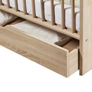trendteam Babyzimmer Auszug für Babybett Kinderbett auf Rollen Carlotta, 139 x 16 x 70 cm in Eiche Sägerau Hell Dekor…