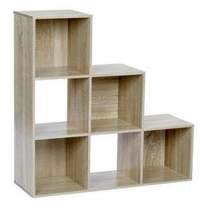 ts-ideen Stufenregal Design Regal 6 Fächer Standregal Bücherregal CD-Regal Aufbewahrung Holz Eiche 90 x 90 cm