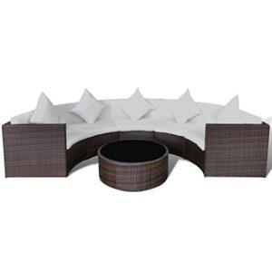 vidaXL Gartenmöbel 6-TLG. mit Auflagen Sitzgruppe Sitzgarnitur Sofa Lounge Gartenset Gartensofa Sofagarnitur Rattanmöbel…