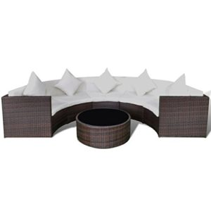 vidaXL Gartensofa-Set Lounge Gartenmöbel Sitzgruppe Halbrund Poly Rattan