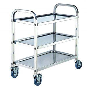 ybaymy 3Etagen 80cm Rolling Trolley Warenkorb Servieren Rack Edelstahl für Küche Insel Hostess Utility Bar Arbeitsplatte