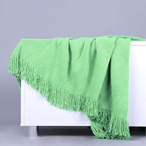 Ai.Moichien 130 cm * 150 cm Plain Rib Quasten Decke Weiche Sofa Dekorative Sofa Stuhlabdeckung Tischdecke (51″* 59″)
