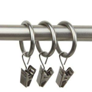 14 Duschvorhang-Ringe, mit Klammern und Haken, 50 mm nickel