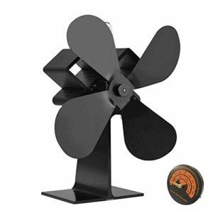 2018 Stromloser Ventilator für Kamin, Queta Kamin- Ventilator Ofenventilator Feuerstelle Kaminöfen Heizlüfter Holzöfen Öfen, wärmebetriebener Ofen-Ventilator mit Magnetisches Ofen-Thermometer