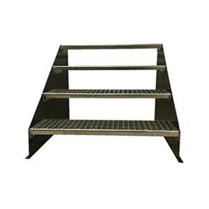 BBT@ 4 stufige freistehende Stahltreppe Standtreppe Breite 100cm Höhe 84cm Anthrazitgrau / Stabile Industrietreppe für…