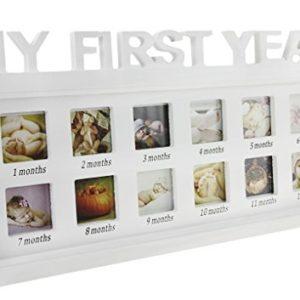 """Baby Bilderrahmen Kinder Fotorahmen """"My First Year"""" 12 Fotos mit Fotorahmen Feierlichkeiten Große Erinnerung Baby Geburtsgeschenk für ersten Jahrestag Taufen Geburtstage"""