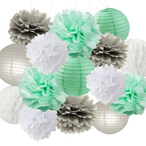 Baby Dusche Dekorationen Furuix 15 stücke Mint Grau Weiß Party Dekoration Kit Seidenpapier Pom Pom Waben Ball für Brautdusche Geburtstag Party Decoratios (Mint Grau Weiß)