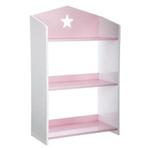 Bücherregal aus Holz mit 3 Ablageflächen – Sternen-Motiv – Farbe ROSA und WEIß