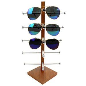 Teckpeak Brillenständer Holz, Brillenregal Brillenhalter Brillenablage Halter Sonnenbrillenständer für 5 Brillen