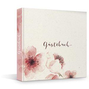 FRUITPRINTS BlueberryBooks – Hardcover Gästebuch – Kirschblüten – 176 Seiten – Blanko-Innenseiten – 21 x 21 cm – mit…