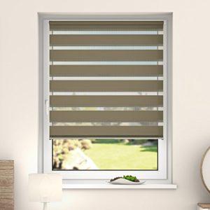 DESWIN Doppelrollo Klemmfix, Duo Rollos ohne Bohren für Fenster & türen 35 x 160 cm Crème – White(KlemmFix Duorollo mit…