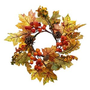 """Deko-Kranz """"Herbstlaub"""" aufwändig gearbeitet mit zahlreichen Textil-Laubblättern in stimmungsvollen Herbstfarben, Naturzapfen und kleinen Kunststoffbeeren außen ca. 30 cm, ohne Glas-Windlicht und Kerze"""