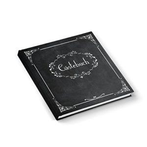 Edel nostalgisch schwarz weißes Gästebuch 21 x 21 cm 164 Seiten Vintage Nostalgie Look – Hochzeitsgästebuch Tafelkreide…