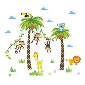 FACAI Wandtattoo Dschungel Wald Affen Löwe Giraffe, Eule auf bunten Baum Wandsticker für Kinderzimmer Kindergarten Schlafzimmer