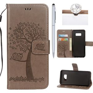 Felfy Kompatibel mit Galaxy S7 Hülle Leder Flip,Kompatibel mit Galaxy S7 Tasche mit Kartenfach Handyhüllen Leder PU Leder Wallet Klapphülle Flip Book Case Tasche mit Niedlich Eule Muster,Grau