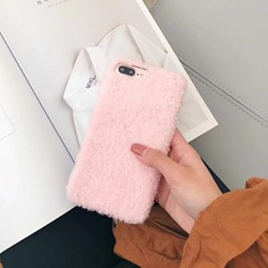 Felfy Kompatibel mit Hülle iPhone 8 Plus / 7 Plus Case Hülle Pink Kreativ Plüsch Schön Schutzhülle Case Hülle de Protecetion Plüsch Ball Handyhülle Plüsch Full Body PC Plastic Cover