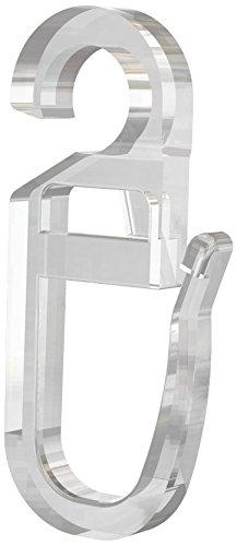 Flairdeco 11061603-1004 Überklipshaken mit Faltenhaken Öse 6,2 mm, transparent aus Kunststoff / Packungsinhalt 10 Stück