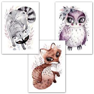 Frechdax® 3er Set Poster DIN A3 ohne Bilderrahmen | Mädchen Junge | Kinderposter Bilder für Kinderzimmer Babyzimmer | Tiermotive Tiere (3er Set Fuchs, Waschbär, Eule)