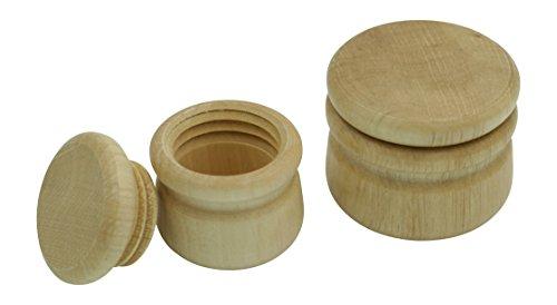GICO Döschen aus Holz Buche mit Deckel – Set mit 1 x Ø 4,5 cm und 1 x Ø 3,5 cm neutral mit Schraubverschluß, Holzdose Natur