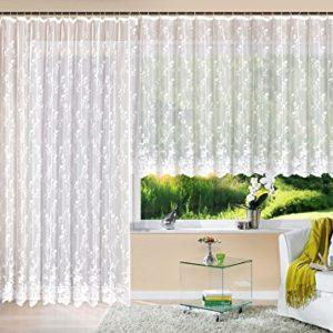 Gardine Store Jacquard Mainz HxB 145×300 cm Kräuselband Universalband Weiß Blumenmuster Transparent Voile Vorhang Wohnzimmer, 13144