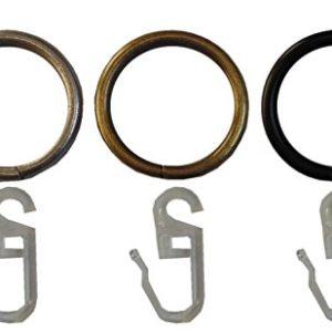 Garduna 20 GARDINENRINGE | Edelstahl-Optik | Set à 20 Stück | Metall – mit Faltenhaken | für Ø16 & Ø20mm Ringe für…