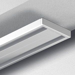 Garduna Gardinenschiene Vorhangschiene, 1-/ 2-läufig, Aluminium, Weiss, Glatte, glänzende Oberfläche