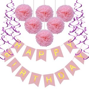 Rusee Geburtstag Dekoration Set, DIY Happy Birthday Girlande Quasten Set Geburtstag Dekoration Seidenpapier Pompons…