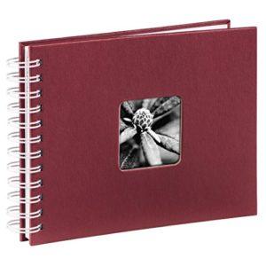 Hama Fotoalbum (24 x 17 cm, 50 weiße Seiten, 25 Blatt, mit Ausschnitt für Bildeinschub) Fotobuch bordeaux