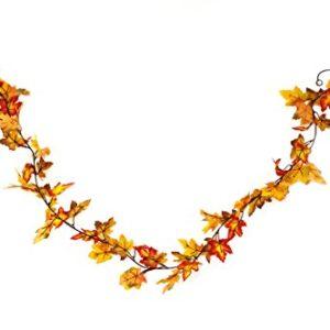 Heitmann Deco Herbst-Girlande mit Ahorn-Blättern in gelb/orange – Deko-Girlande mit Herbst-Laub – Kunststoff-Blätter
