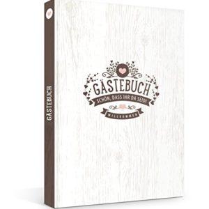 Hardcover Gästebuch in rustikaler Vintage Optik, Fadenheftung (kein Ausreißen d. Seiten), 176 Blanko-Seiten bzw. 88…