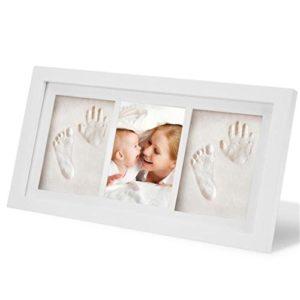 Holzsammlung Bilderrahmen Baby 3D Handabdruck und Fußabdruck Personalisierter Bilderrahmen aus Holz mit Ungiftigem Lehm Andenken Set für Baby Geschenk, Größe(33 x 18 x 2 CM) #3
