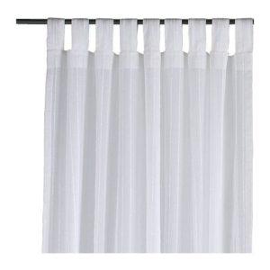 IKEA 2-er Set Gardinen 'Matilda' transparente aber blickdichte Gardinenschals mit Schlaufen, je 300 x 140 cm, weiss, 100% Baumwolle