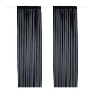 2 XIKEA VIVAN -Gardinen 1 Paar schwarz – 145×300 cm