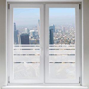 INDIGOS UG Sichtschutzfolie – Fensterfolie – Glasdekor – Sonnenschutz – Glasdekorfolie – Dynamische Streifen satiniert blickdicht ORACAL®