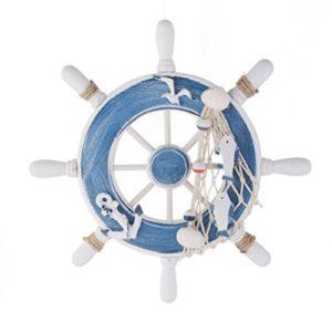 Inizio Holz Wanddeko Steuerrad Schiff Lenkrad Steering Fischernetz (Blau+Weiß)