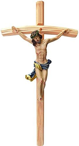 Kaltner Präsente Geschenkidee – 35 cm Wandkreuz Kruzifix mit Jesus Christus Figur auf Kreuz aus Holz cm von Hand bemalt
