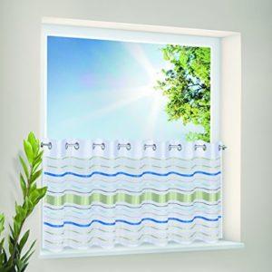 Kamaca Bistrogardine Küchengardine Panneaux mit ÖSEN Colourful Waves zartes Voile mit modischen Streifen (H/B 50×150)