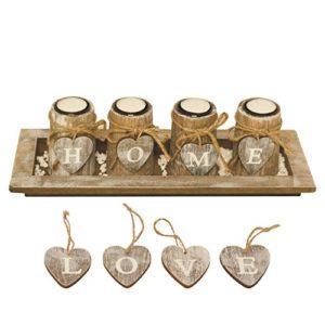 BELLA O'BLUE Kerzenständer für Teelichter I Teelichthalter Tischdeko I 4 Kerzenhalter in Dekoschale mit Deko Herz, Dekosteine weiß I Home + Love