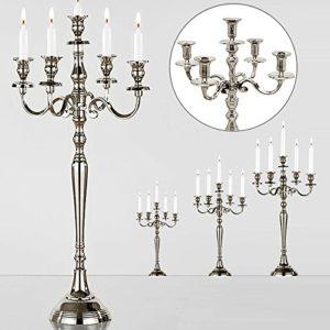 Deuba Kerzenständer Kerzenleuchter 1, 3 oder 5 armig 40/60/80 cm in Silber, Gold oder Weiß Leuchter (Gold 40cm)