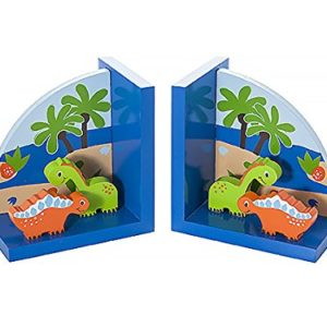 Mousehouse Gifts Kinder Buchstützen Blau Dinosaurier aus Holz für Jungen Kinderzimmer