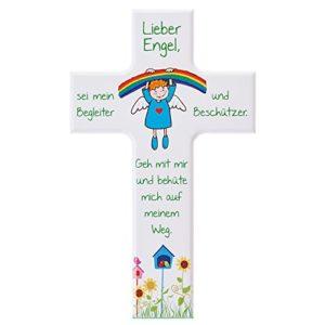 FRITZ COX® – Kinder- Holzkreuz: 'Regenbogen-Engel' 20 cm, weiß BEST SELLER für Kinder und als Taufgeschenk