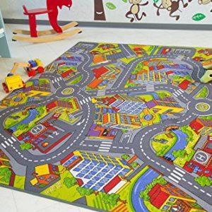 Kinder Teppich City – Straßen und Spiel Teppich, 100×160 cm