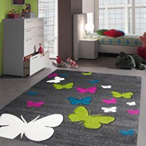 Kinderteppich Spielteppich Kinderzimmer Teppich Schmetterling Design mit Konturenschnitt Grau Pink Türkis Grün Creme