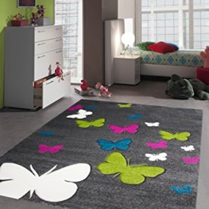 Kinderzimmer Teppich Schmetterlinge in Grau Rosa Türkis
