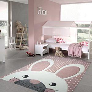 Kinderteppich Spielteppich Teppich Kinderzimmer Babyteppich Hase in Rosa Weiss Grau Größe 80×150 cm
