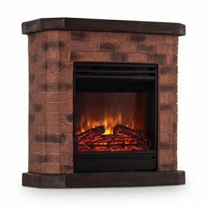 Klarstein Villach – Elektrischer Kamin, Elektro-Kamin, Kamin elektrisch, 1800 Watt, Flammeneffekt, Steindekor, Polystone…