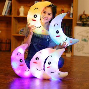 LED Leuchtend Kinder Plüschtiere Mond Kissen Kinderzimmer Weihnachten Baum Dekoration