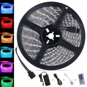 LED Streifen 5M, Nasharia LED Stripes 5M 5050 RGB Wasserdicht IP65 300 LEDs Lichtleisten Farbwechsel LED Lichtband mit 44 Tasten IR Fernbedienung 12V 5A Netzteil für Decke Bar Theke Schrank Beleuchtung, Party und Haus Deko