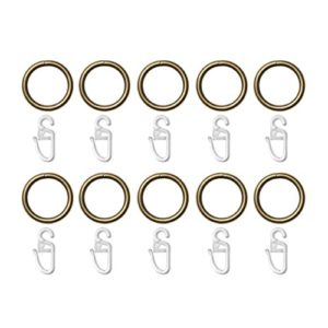 Lichtblick RI20.10.15 Ringe für Gardinenstange 12, 16, 20 mm, 10 Stück – 25 mm Durchmesser Messing Antik